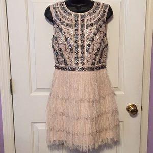 NWT Bebe cream lace w/sequins dress